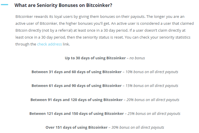 Bitcoinker Seniority Bonuse