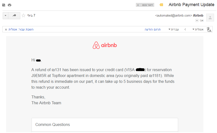 airbnb refund mail