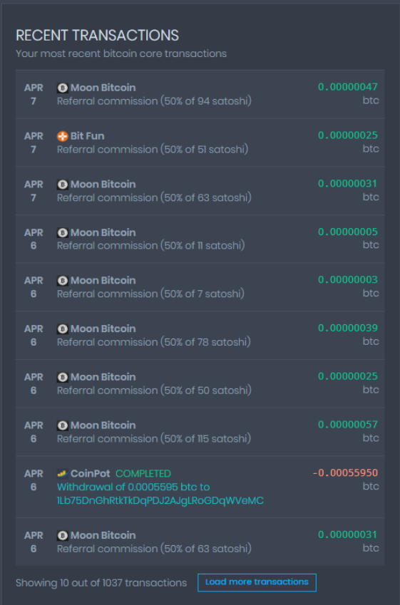 coinpot bitcoin core transactions