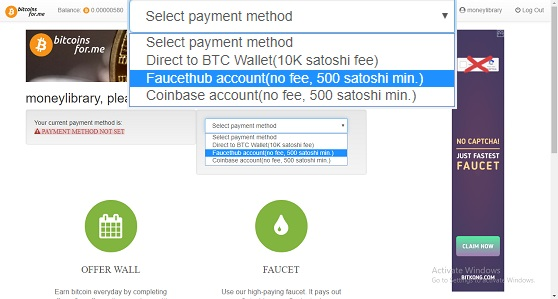 payment method faucethub set bitcoinsfor.me 1