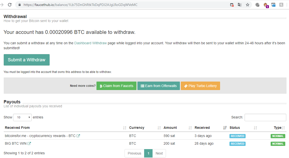 payment proof bitcoinsfor.me at faucethub.io 1