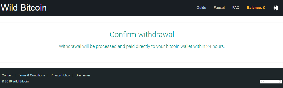 wild bitcoin withdrawal confirm